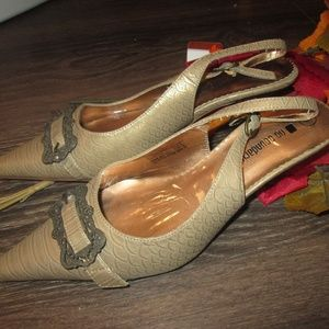 No Boundaries Antique Gold Heels Size 8